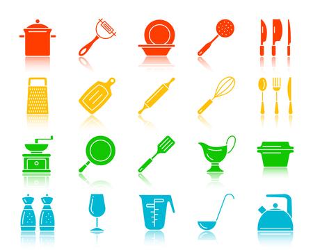 Ensemble d'icônes silhouette ustensiles de cuisine. Kit de signe d'ustensiles de cuisine. Vecteurs