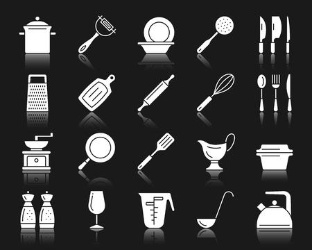 Küchengeschirr Silhouette Icons Set. Isoliertes Schildkit des Kochgeschirrs.