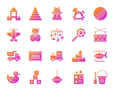 Baby toy silhouette icons set. Sign kit of children play isolated on white.