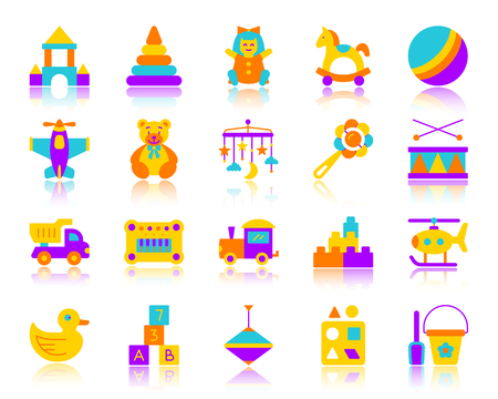 Baby toy flat icons set. Vector sign kit of children play.