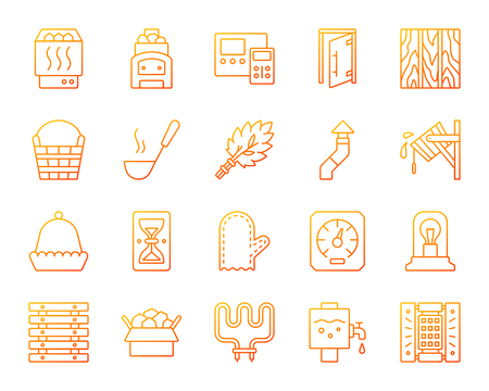 Sauna equipment thin line icons set. Outline vector sign kit of bathhouse. Spa linear icon collection includes electric heater, mitten, sand clock. Warm gradient simple sauna equipment symbol isolated Banque d'images - 107158077