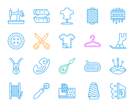 Sewing thin line icons set. Outline sign kit of fashion. Embroidery linear icon collection includes iron, tracing wheel, zip. Simple sewing color contour symbol isolated on white. Vector Illustration