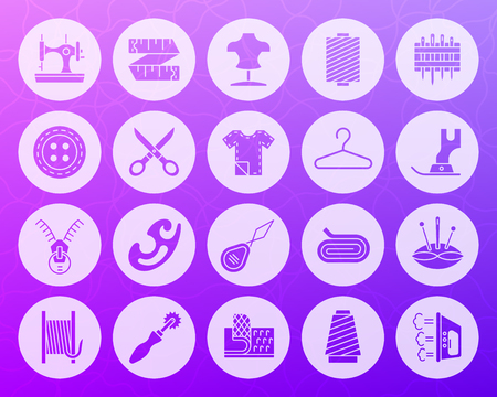 Sewing icons set. Web sign kit of fashion. Embroidery pictogram collection includes knitting sewing machine, zip. Simple sewing vector symbol. Icon shape carved from circle on purple violet background