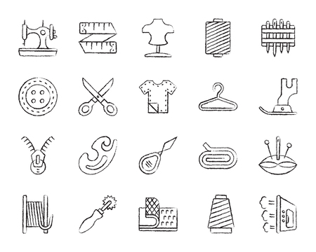 Sewing charcoal icons set. Grunge outline sign kit of fashion. Embroidery linear icon collection includes button, scissors, fabric. Hand drawn by chalk simple sew symbol on white. Vector Illustration