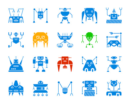 Robot silhouette icons set. Isolated web sign kit of character. Transformer monochrome pictogram collection includes ant, toy, robotic. Simple robot color contour symbol. Vector Icon shape for stamp