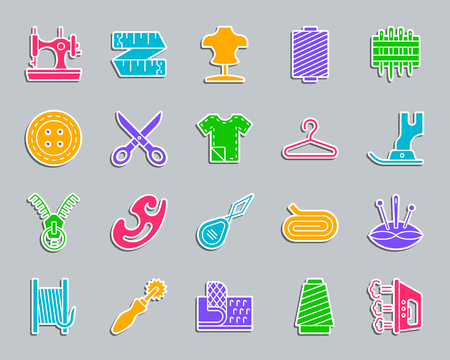 Sewing silhouette sticker icons set. Sign kit of fashion. Embroidery pictogram collection includes velcro fastener, spool, thimble. Simple sewing vector icon shape for badge, pin, patch and embroidery