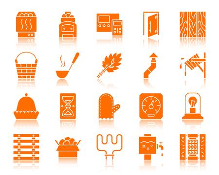 Sauna apparatuur pictogrammen instellen. Bordpakket van badhuis. Spa-pictogramcollectie omvat lambrisering, zandloper, elektrische verwarming. Eenvoudig saunatoebehoren symbool met reflectie. Vector pictogramvorm geïsoleerd