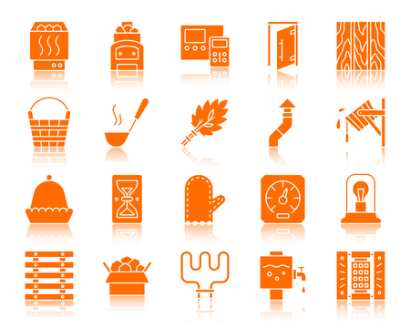 Sauna equipment icons set. Sign kit of bathhouse. Spa pictogram collection includes paneling, hourglass, electric heater. Simple sauna accessories symbol with reflection. Vector Icon shape isolated Banque d'images - 107158112
