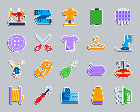 Sewing sticker icons set. Web flat sign kit of fashion. Embroidery pictogram collection includes iron, tracing wheel, zip. Simple sewing symbol. Colorful icon for patch, badge pin. Vector Illustration