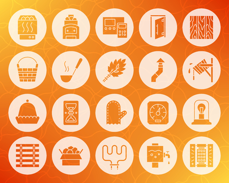 Sauna equipment icons set. Sign kit of bathhouse. Spa pictogram collection includes electric heater, mitten, sand clock. Simple sauna vector symbol. Icon shape carved from circle on warm background