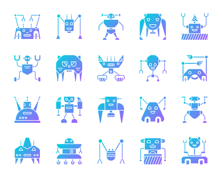 Robot silhouette icons set. Isolated on white web sign kit of character. Transformer pictogram collection includes toy, spider, machine. Modern gradient simple contour symbol. Robot vector icon shape