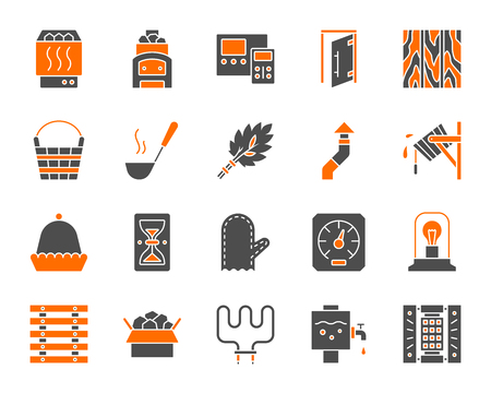 Sauna equipment silhouette icons set. Isolated sign kit of bathhouse. Spa pictogram collection includes stone, accessories, boiler. Simple sauna accessories contour symbol. Vector Icon shape for stamp Stock Illustratie