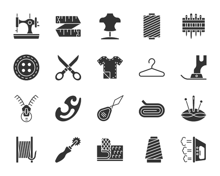 Sewing silhouette icons set. Monochrome sign kit of fashion. Embroidery pictogram collection includes iron tracing wheel, zip. Simple sewing black symbol isolated on white. Vector Icon shape for stamp Vettoriali