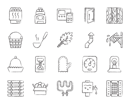 Sauna equipment charcoal icons set. Grunge outline sign kit of bathhouse. Spa linear icon collection includes stone, accessories, boiler. Hand drawn simple sauna symbol on white. Vector Illustration Stock Illustratie