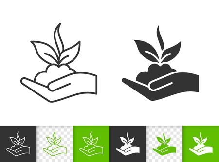 Brotar iconos negros lineales y de silueta. Signo de línea delgada de semillas biológicas. Pictograma de contorno de planta orgánica aislado en blanco, color, fondo transparente. Forma de icono de vector. Brote de símbolo simple closeup