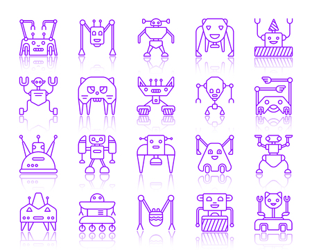 Robot thin line icons set. Outline vector violet sign kit of character. Transformer linear icon collection includes bear, toy, ai. Simple robot purple contour symbol with reflection isolated on white