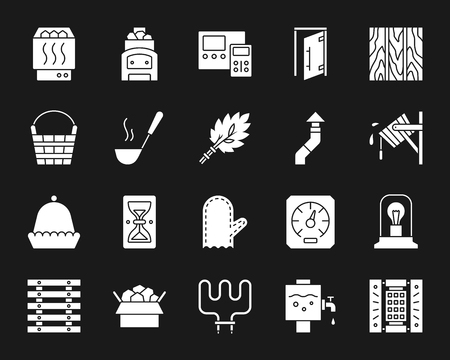 Sauna equipment silhouette icons set. Isolated sign kit of bathhouse. Spa pictogram collection includes electric heater, mitten, sand clock. Simple white contour symbol. Sauna accessories vector icon