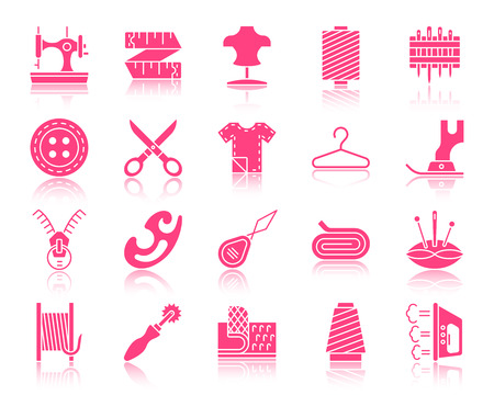 Nähen Rose Silhouette Ikonen gesetzt. Rosa Zeichen Kit der Mode. Die Stickerei-Piktogramm-Sammlung umfasst Textil, Stoff, Puppe. Einfaches Nähsymbol mit Reflexion. Vektorsymbolform lokalisiert auf Weiß Vektorgrafik
