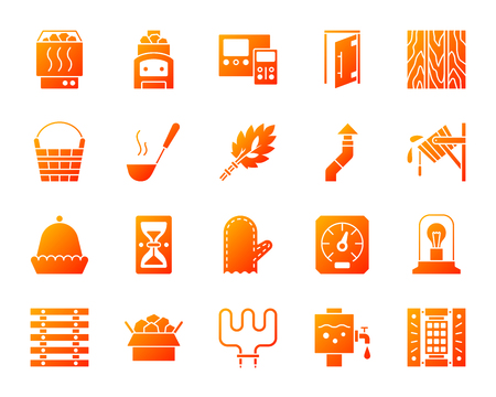 Sauna equipment silhouette icons set. Isolated on white sign kit of bathhouse. Spa pictogram collection includes wood burning stove ladle hat. Simple contour symbol. Sauna attributes vector icon shape Vettoriali