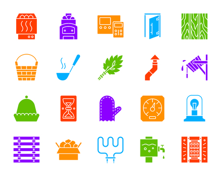 Sauna equipment silhouette icons set. Isolated web sign kit of bathhouse. Spa pictogram collection includes hourglass headrest, glass door. Simple sauna accessories symbol. Vector Icon shape for stamp