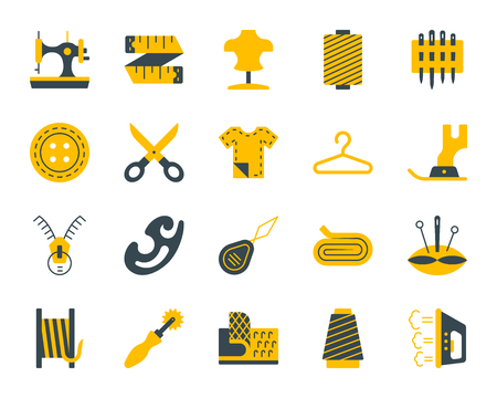 Sewing silhouette icons set. Isolated on white web sign kit of fashion. Embroidery pictogram collection includes button, scissors, fabric. Simple sewing contour symbol. Vector Icon shape for stamp Illustration