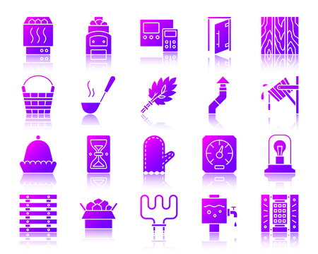 Sauna equipment silhouette icons set with reflection. Sign kit of bathhouse. Spa vector pictogram collection includes ladle, chimney, bucket waterfall. Gradient simple sauna icon isolated on white