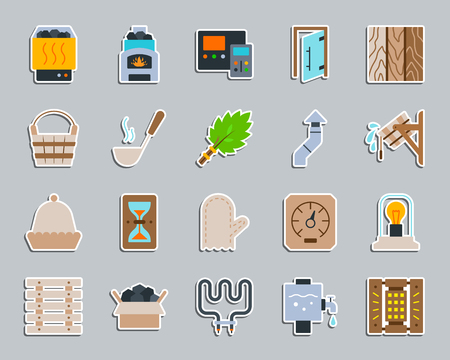 Sauna equipment sticker icons set. Flat sign kit of bathhouse. Spa pictogram collection includes wood burning stove, ladle, hat. Simple sauna accessories icon symbol for patch pin. Vector Illustration