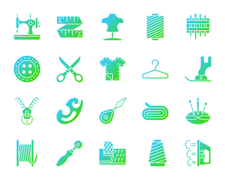 Sewing silhouette icons set. Isolated on white web sign kit of fashion. Embroidery pictogram collection includes iron tracing wheel zip. Modern gradient simple contour symbol. Sewing vector icon shape