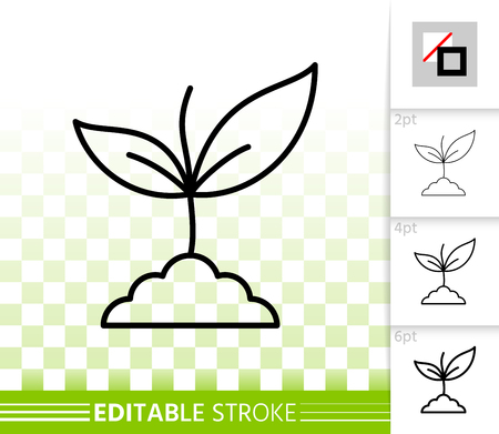 Green Leaves thin line icon. Outline web sign of sprout. Grass linear pictogram with different stroke width. Simple vector symbol transparent background. Green Leaves editable stroke icon without fill
