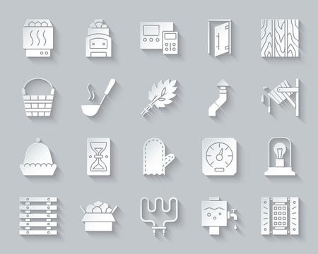 Jeu d'icônes de coupe de papier d'équipement de sauna. Kit de signe de bain. Les pictogrammes du spa comprennent un sablier de lambris, un radiateur électrique Accessoires de sauna simples vector papier découpé en forme d'icône. Symbole de conception matérielle