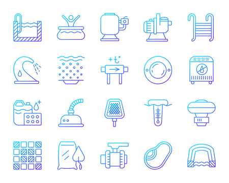 Swimming pool equipment thin line icons set. Outline vector sign of construction. Repair linear icon collection includes outdoor, pump, chemical dosing. Simple pool equipment symbol isolated on white Illustration