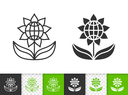 Flower black linear and silhouette icons. Thin line sign of eco sunflower. Green globe outline pictogram isolated on white green transparent background. Vector Icon shape. Flower simple symbol closeup