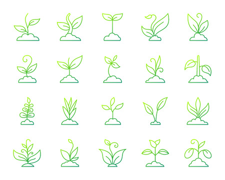 Grass thin line icons set. Outline vector web sign kit of green plant. Sprout linear icon collection includes leaves, flower, seedling. Modern green gradient simple grass symbol isolated on white Stock Illustratie