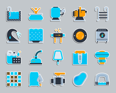 Swimming pool equipment sticker icons set. Flat sign kit of construction. Repair pictogram collection includes chemical dosing, valve, pavilion. Simple pool equipment icon symbol. Vector Illustration