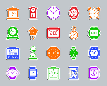 Watch silhouette sticker icons set. Web sign kit of alarm clock. Clock pictogram collection includes timer, hourglass, stopwatch. Simple watch vector icon shape for badge, pin, patch and embroidery