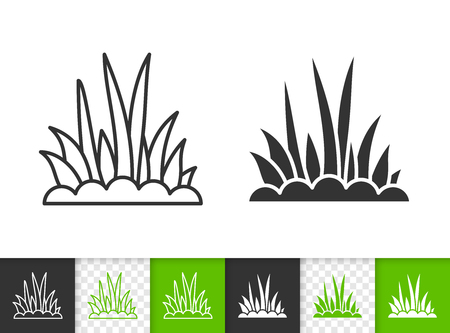 Grass black linear and silhouette icons. Thin line sign of bush. Organic plant outline pictogram isolated on white, color, transparent background. Vector Icon shape. Greem grass simple symbol closeup