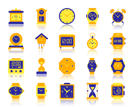 Watch flat icons set. Vector sign kit of alarm clock. Clock pictogram collection includes stopwatch, cuckoo clock, reminder. Simple watch colorful cartoon icon symbol with reflection isolated on white