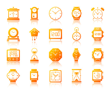 Watch silhouette icons set with reflection. Gold sign kit of alarm clock. Clock vector pictogram collection includes screen, chronometer, timer. Gradient contour simple watch icon isolated on white
