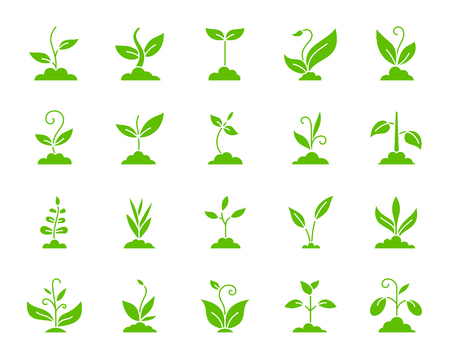 Grass silhouette icons set. Isolated web sign kit of eco plant. Sprout monochrome pictogram collection includes soybean, wheat, coffee. Simple green grass contour symbol. Vector Icon shape for stamp Vettoriali