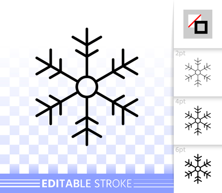 Snowflake thin line icon. Outline web sign of snow. Weather linear pictogram with different stroke width. Simple vector symbol, transparent background. Snowflake editable stroke icon without fill