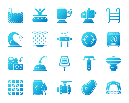 Swimming pool equipment icons set. Isolated sign kit of construction. Repair pictogram collection includes chemical dosing, valve, pavilion. Simple contour symbol of pool accessories vector icon