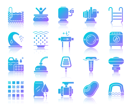Swimming pool equipment silhouette icons set with reflection. Sign kit of construction. Repair vector pictogram collection includes bowl, filter, pump. Gradient simple pool accessories icon isolated