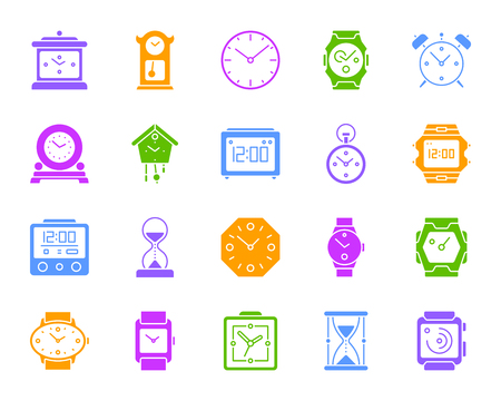 Watch silhouette icons set. Isolated sign kit of alarm clock. Clock monochrome pictogram collection includes timer, hourglass, stopwatch. Simple watch color contour symbol. Vector Icon shape for stamp