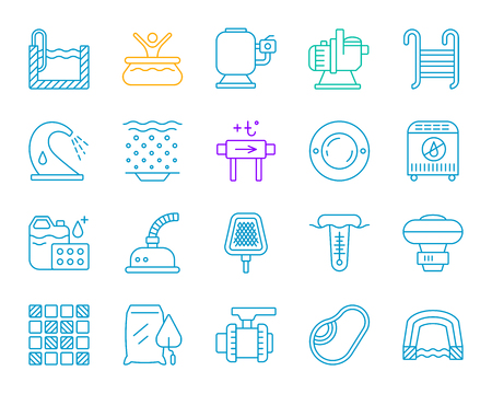 Swimming pool equipment thin line icons set. Outline sign of construction. Repair linear icon collection includes chemical dosing, valve, pavilion. Simple pool gear symbol isolated Vector Illustration Illustration