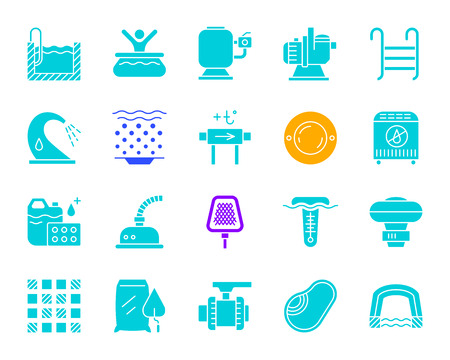 Pool equipment silhouette icons set. Isolated sign kit of construction. Repair pictogram collection includes tile mosaic waterproofing net. Simple pool accessories symbol. Vector Icon shape for stamp Illustration