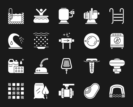 Swimming pool equipment silhouette icons set. Isolated sign kit of construction. Repair pictogram collection includes pump, chemical dosing. Simple white contour symbol. Pool accessories vector icon Illustration