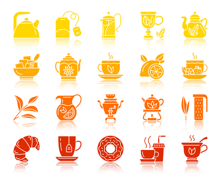 Tea silhouette icons set. Sign kit of cup. Tea time glyph pictogram collection includes fruit tea strawberry lemon. Simple tea color contour symbol with reflection. Vector Icon shape isolated on white