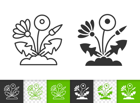 Dandelion black linear and silhouette icons. Thin line sign of eco flower. Grass outline pictogram isolated on white, green, transparent background. Vector Icon shape. Dandelion simple symbol closeup Иллюстрация