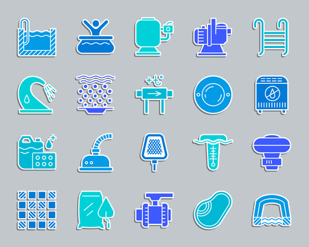 Pool equipment silhouette sticker icons set. Sign kit of construction. Repair pictograms includes tile mosaic, waterproofing net. Simple swimming pool accessories vector icon shape for badge pin patch Ilustração