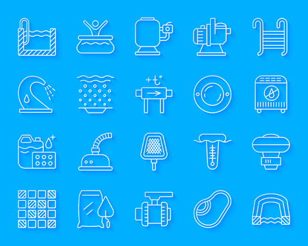 Pool equipment paper cut line icon set. 3D sign kit of construction. Repair linear pictograms includes pump filter, waterfall. Simple pool accessories vector paper carved icons. Material design symbol